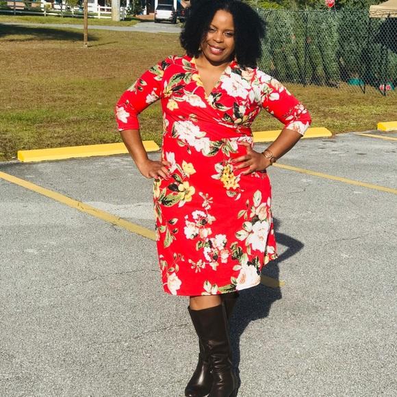 Plus Red Flower Dress
